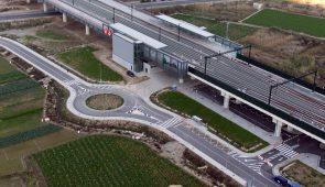 Tramo AVE San Isidro – Orihuela. Estación Callosa del Segura /  High speed railway Alicante - Murcia line, section between San Isidro – Orihuela. Train station of Callosa del Segura